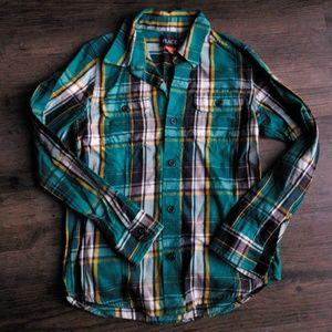 Green and Blue plaid button down long sleeve shirt
